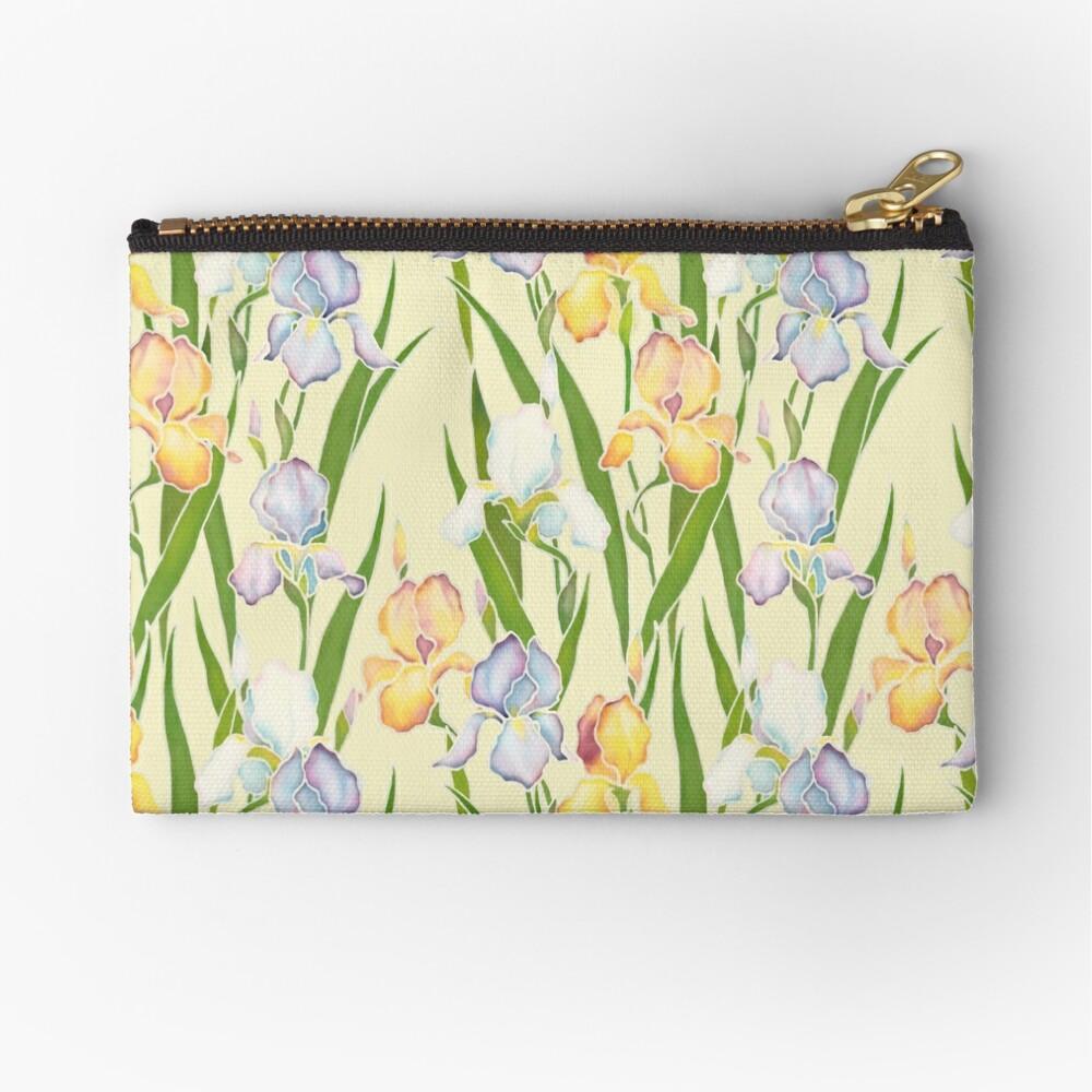 Creamy Irises Zipper Pouch