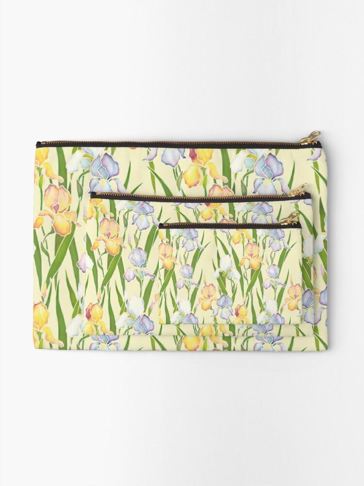 Alternate view of Creamy Irises Zipper Pouch