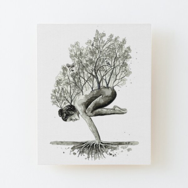 Mother Nature Tree Woman Nurture Wood Mounted Print