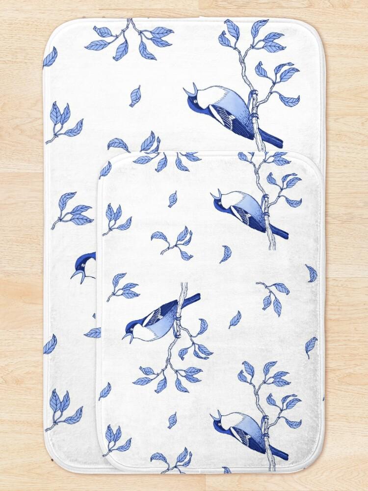 Alternate view of Blue Bird Pattern Bath Mat