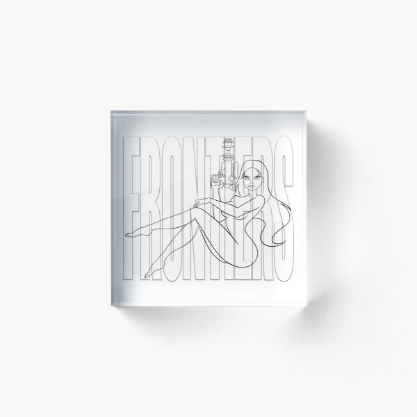 """JIL — GHOST LINES ON WHITE """"FRONTIERS"""" Acrylic Block"""
