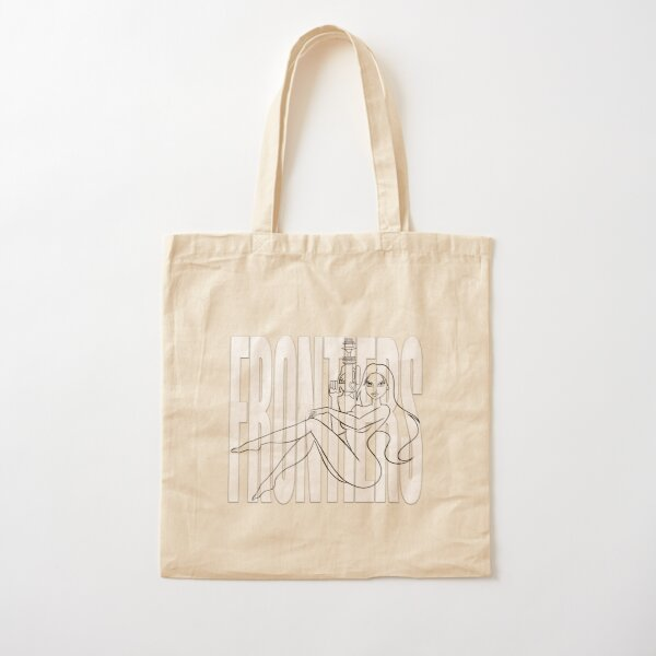 "JIL — GHOST LINES ON WHITE ""FRONTIERS"" Cotton Tote Bag"