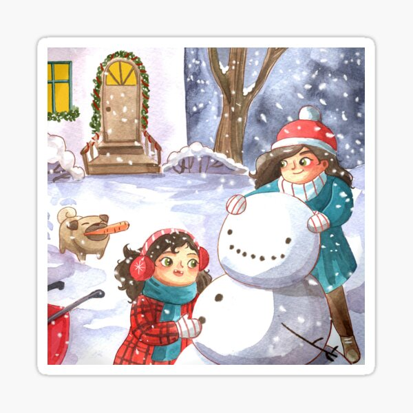 Mom, Daughter, and Family Dog Build a Snowman  Sticker