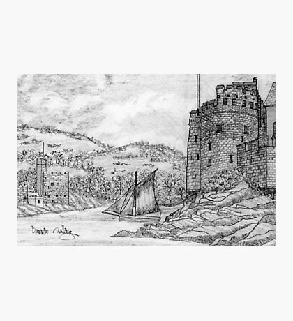 A pencil drawing of Dartmouth and Kingswear Castles, Devon, England Photographic Print