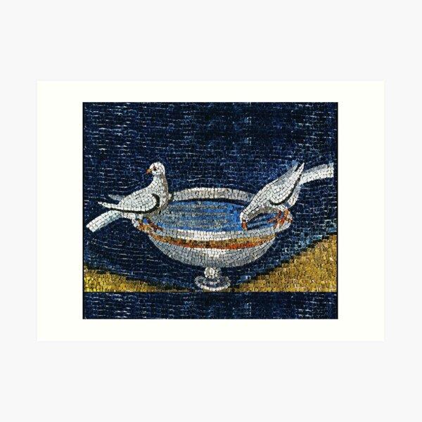 RAVENNA BYZANTINE MOSAICS ,TWO DOVES ON FOUNTAIN  Art Print