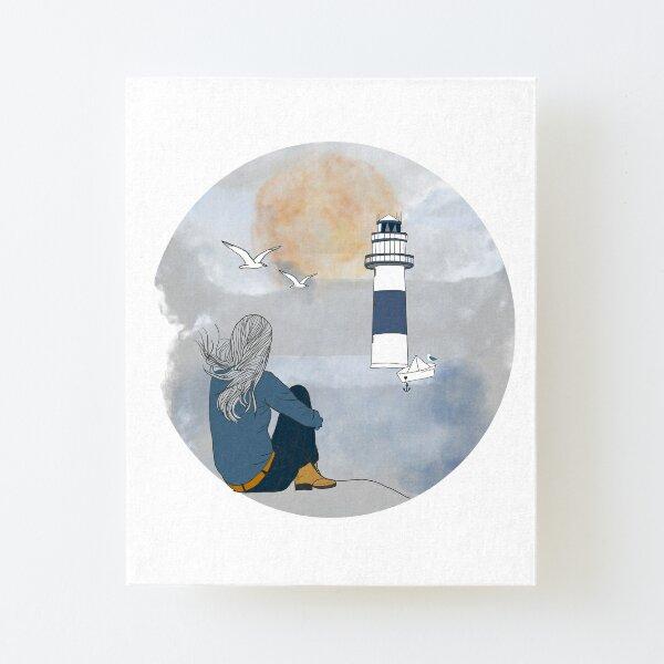 Frau am Ufer  Aufgezogener Druck auf Leinwandkarton
