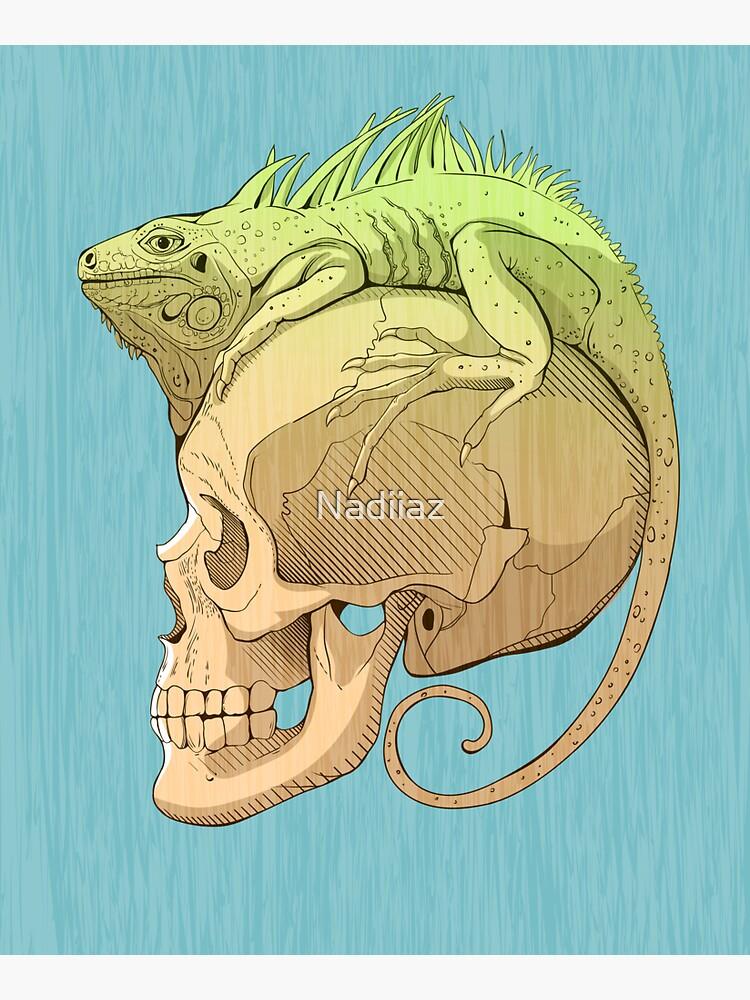 bunte Illustration mit Leguan und Schädel von Nadiiaz