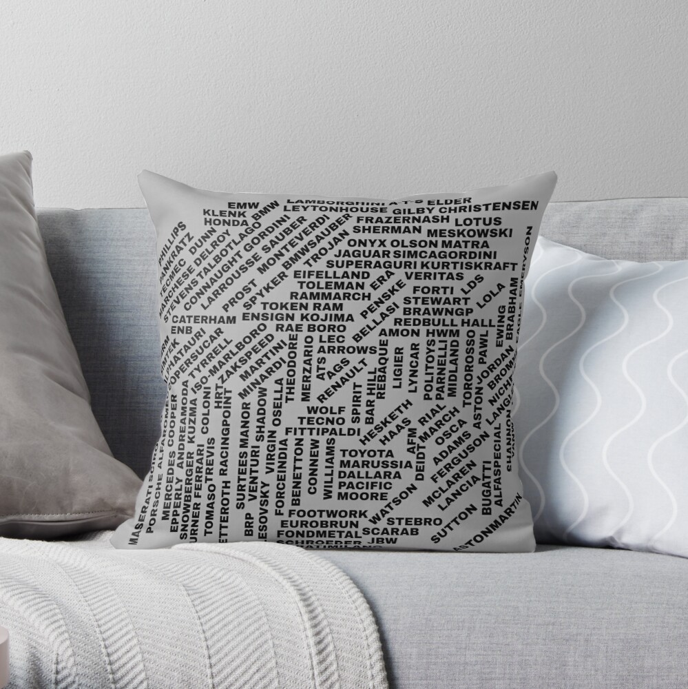 All F1 Teams Throw Pillow By F1marv Redbubble