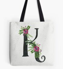 Monogram K with Floral Wreath Tote Bag