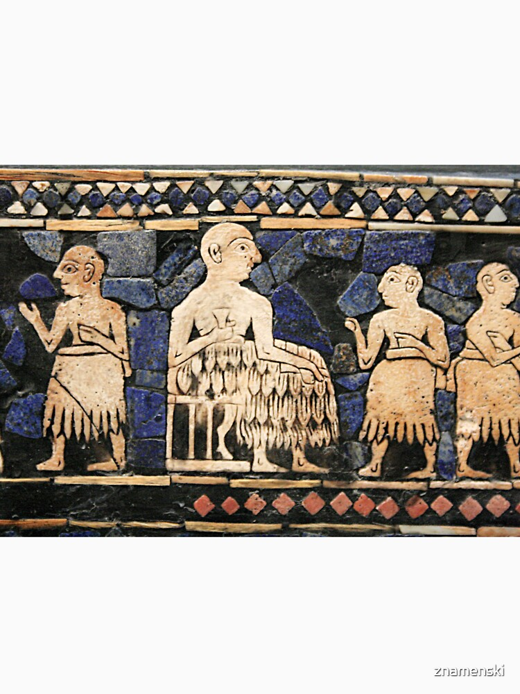 Enthroned Sumerian king of Ur, possibly Ur-Pabilsag, with attendants. Standard of Ur, c. 2600 BC. by znamenski