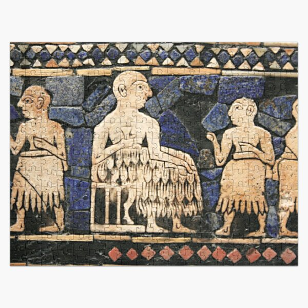 Enthroned Sumerian king of Ur, possibly Ur-Pabilsag, with attendants. Standard of Ur, c. 2600 BC. Jigsaw Puzzle