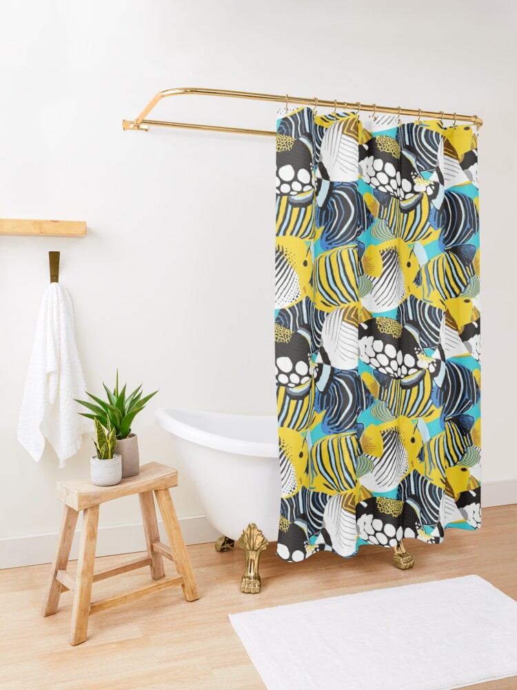 Alternate view of Tropical Fish animal print Shower Curtain
