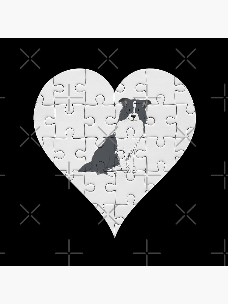 Border Collie Heart Jigsaw Pieces Design - Border Collie by dog-gifts