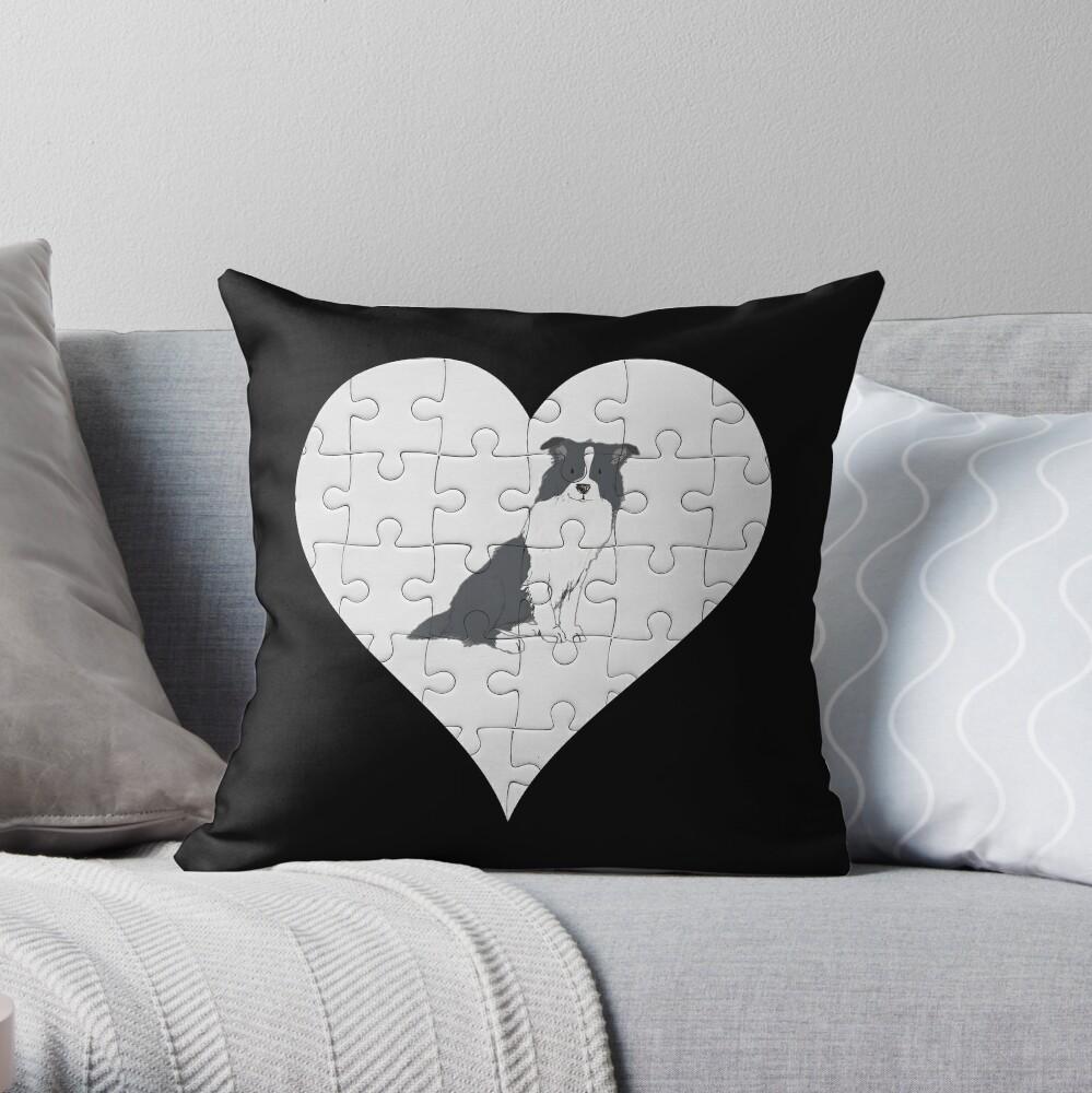Border Collie Heart Jigsaw Pieces Design - Border Collie Throw Pillow
