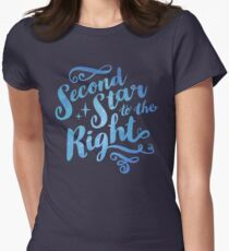 Second Star To the Right // Pretty Star Peter Pan Typography Quote T-Shirt