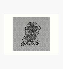 BBC Sherlock quote picture Art Print