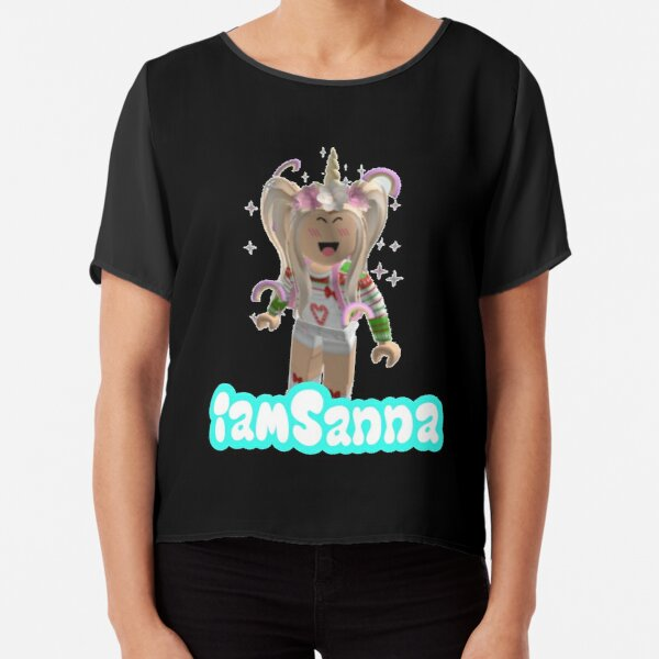 iamSanna Loves Unicorns BLACK Chiffon Top