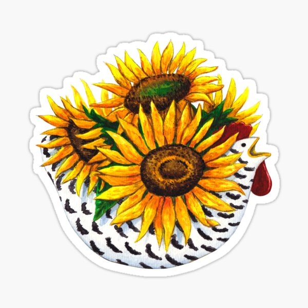 French Sunflower Chicken Sticker