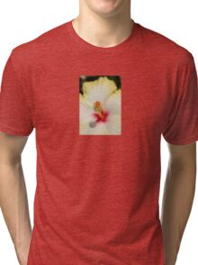 Close Up of Stamen And Pollen Yellow Hibiscus Tri-blend T-Shirt