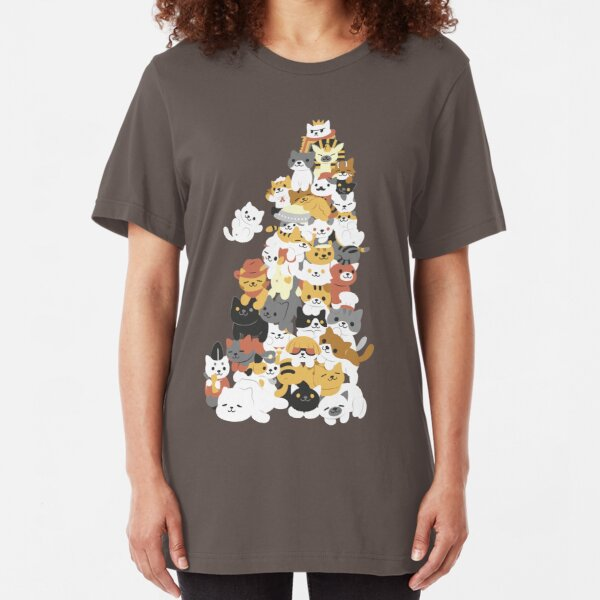cat pile Slim Fit T-Shirt