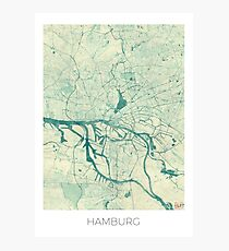 Hamburg Map Blue Vintage Photographic Print