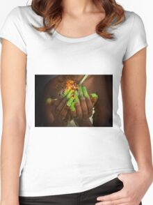 African model with a ball of fire in her hands.  Women's Fitted Scoop T-Shirt