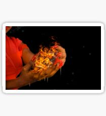 African model with a ball of fire in her hands.  Sticker