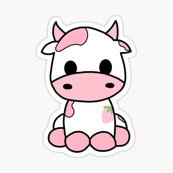 Cute Strawberry Cow Sticker