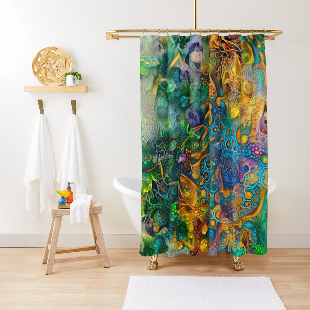 Deepdream floral abstraction Shower Curtain