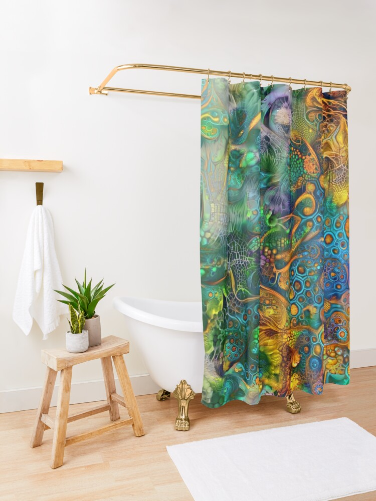 Alternate view of Deepdream floral abstraction Shower Curtain