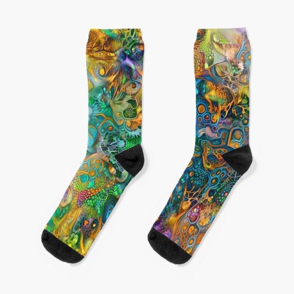 Deepdream floral abstraction Socks
