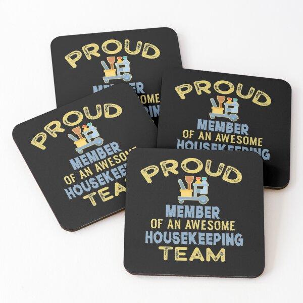 Housekeeping Shirt Humor Cleaning Housekeeper Gift T-Shirt Housekeeping T Shirt Professional Cleaner Shirt Housekeeping Crew  Coasters (Set of 4)