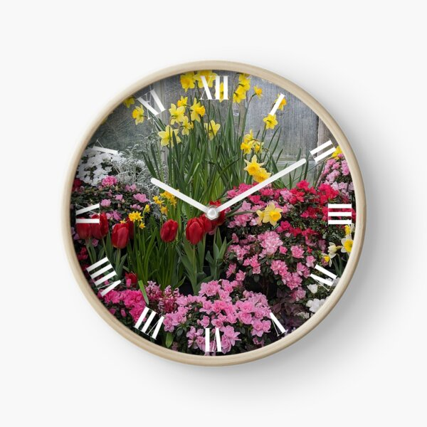 So Many Flowers Clock with Roman Numerals Clock