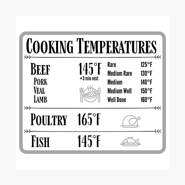 Cooking Temperature Chart Magnet Photographic Print