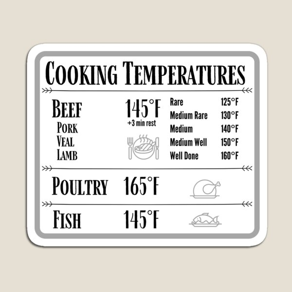 Cooking Temperature Chart Magnet Magnet