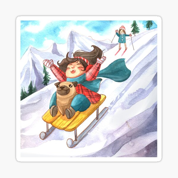 Winter Fun: Girl Sledding in Mountains with her Pug and Mom  Sticker
