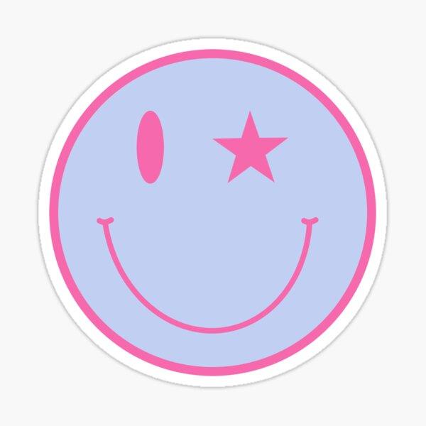 visage souriant aux yeux roses et bleus Sticker