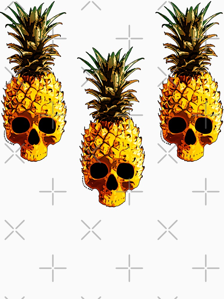 Golden Skull Pineapple - Grunge Fruit Skull Pattern by RabbitLair