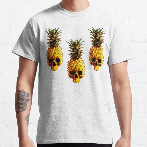 Golden Skull Pineapple - Grunge Fruit Skull Pattern Classic T-Shirt