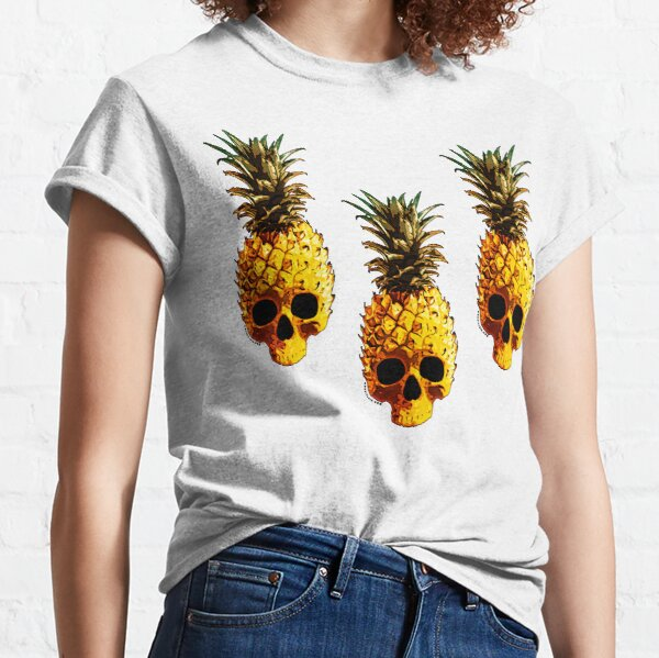 Golden Skull Pineapple - Grunge Fruit Skull Pattern Classic T-Shirt