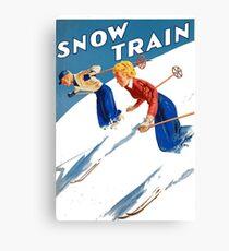 Vintage Christmas Art - Couple Skiing Canvas Print
