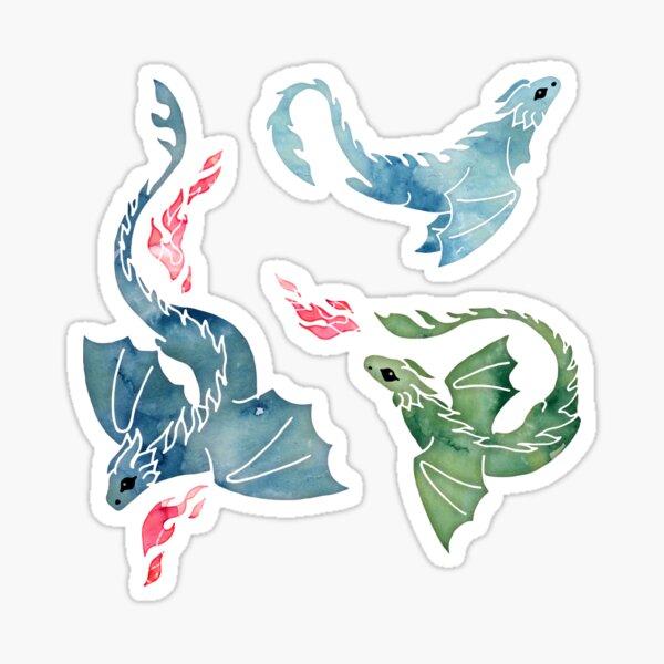 Dragon fire blue & green Sticker