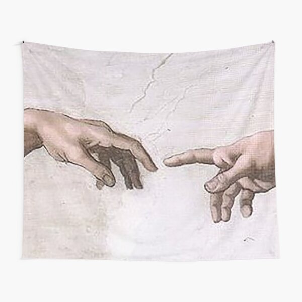 Original The Creation of Adam Hands Touch Tapestry
