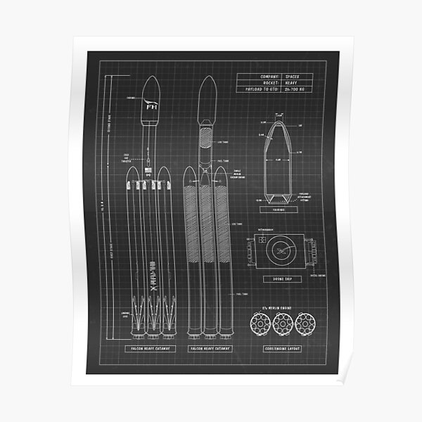 SpaceX Falcon 9 Heavy Black Poster