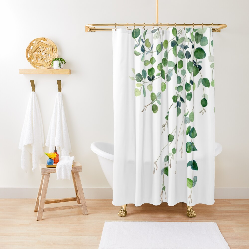 Eucalyptus Watercolor Shower Curtain
