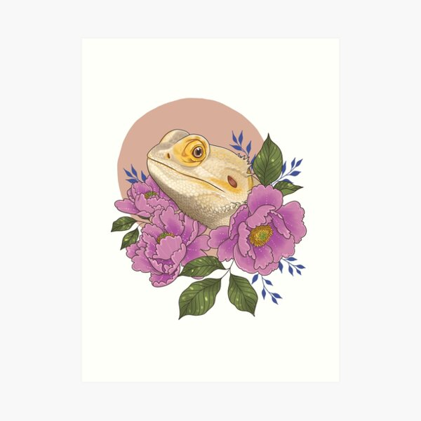 Bearded Dragon with Peonies Art Print