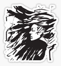 Young goth woman. Dark Queen . Fantasy black hair. Drawn ink Sticker