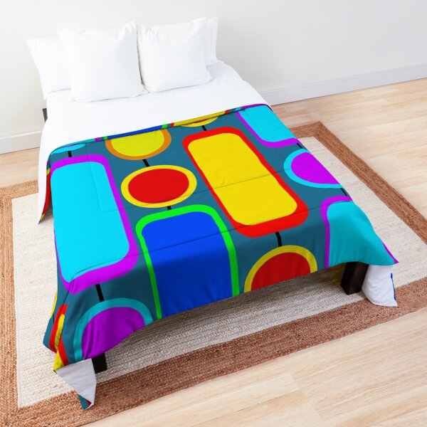 retro mid century modern colorful design Comforter