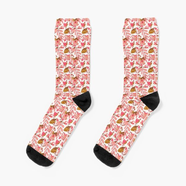 Bright Florals in Pink and Brown Socks