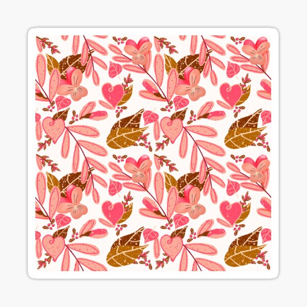 Bright Florals in Pink and Brown Sticker